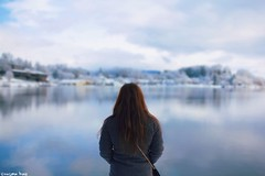 He who marvels (gusdiaz) Tags: woman model wife lake junaluska nc winter snow reflection bokeh depthoffield beautiful canon canonphotography 24mm nubes clouds lago agua water invierno cold frio