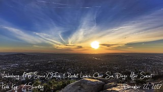 Sunset and Vandenberg AFB SpaceX Falcon 9 Rocket Launch Over San Diego Timelapse