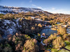 Festival Park Lake at Winter Time (steved_np3) Tags: aerial drone lake wales ebbwvale festival park winter snow valleys house