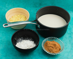 Rice pudding ingredients. (annick vanderschelden) Tags: food ingredients bowl pan rice milk puddingpowder sugar coconutblossomsugar blue dessert belgium