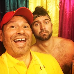 IMG_8095 (danimaniacs) Tags: beard scruff costume party colorful cap shirtless hat smile curtain