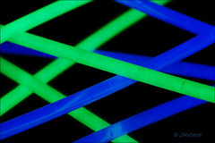 Glow Sticks (VenturaMermaid) Tags: stick glow green blue color theme macro reflect abstract glowstick abstractmacro mirrorimage macromondays 100mm tokina canoneos