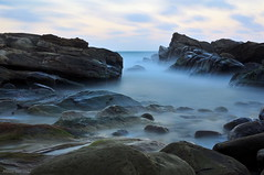 Smooth Waves (milton sun) Tags: waves nanyarockformations newtaipeicity taiwan 南雅奇岩 sceniccoast northerncoast longexposure dusk seascape bay ngc bayarea wave ocean shore seaside coast landscape outdoor clouds sky water rocks mountains rollinghills sea sand beach cliff nature rock blue