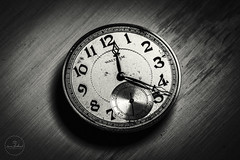 IMG_4623logo (Annie Chartrand) Tags: time watch pocketwatch macro bw black white monochrome metal steampunk waltham numbers hours minutes lines texture antique vintage shadow