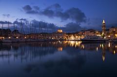 Blue Hour (Kévin Scozzari) Tags: bluehour sanary var paca france reflections landscape city cityscape lights xmas boats clouds nikon nikond750