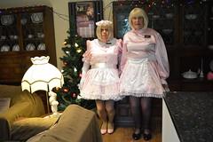 Maids Barbie and Katy 09 (sissybarbie1066) Tags: sissy maid maids pink uniform white trim christmastree sissymaid sissymaids