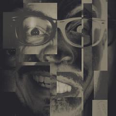 01 / 52 : 1 (Randomographer) Tags: project52 2018 human face self portrait selfie abstract chopped identity crisis photoshop week1 man glasses monotone selfimage