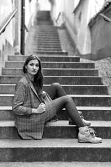 Famous steps (piotr_szymanek) Tags: marcelina portrait outdoor blackandwhite woman girl lady boots stockings fashion steps oldtown sitting face eyesoncamera skinny earring 50f 5k 10k hand 20k 100f 1k 20f