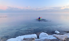 Venture into the cold... (Daniel Q Huang) Tags: kayak ice frozen lake boating