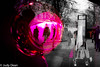 Christmas shopping in Cheltenham (judy dean) Tags: judydean 2017 sliderssunday hss cheltenham christmas decorations reflections pink selectivecolour shoppers bauble