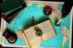 Old World (Heather's Reflections Photography) Tags: old world ancient history flatlay layout flat map maps book books journal diary circle shapes square rectangle leather quill pen ink inkwell feather compass watch gold tick historical ticktock candle red candlestick holder montage collage artifacts props watchcase fob letters paper airmail pacific travel
