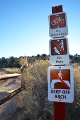No Bicycles, No Pets, Keep Off Arch (Joe Shlabotnik) Tags: nationalpark justviolet utah violet sign 2017 arch canyonlands november2017 canyonlandsnationalpark afsdxvrzoomnikkor18105mmf3556ged