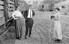 Freight-yard photography, 1912 (Small Creatures) Tags: kodak postcard velox maine bangor shinglemill railroad freightcar camera vintagephoto vintage photographer bw monochrome
