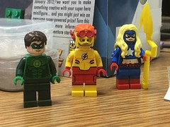 Some end of the year loot (clra2) Tags: lego superheroes sdcc green lantern kid flash stargirl custom pad printing