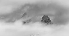 Cotton Peaks (Frédéric Fossard) Tags: nuage cloud sky mountain landscape texture grain art abstrait surréaliste aiguillesdarves alpes savoie maurienne monochrome noiretblanc blackandwhite sommet cimes crêtes picdemontagne aiguillesrocheuses mountainpeaks foggyweather fog brouillard mist