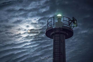 The Super Moon and a light house
