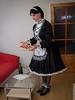 New Year's Eve serving (blackietv) Tags: maid dress gown black white satin petticoat lace apron tgirl transvestite crossdresser crossdressing transgender