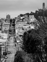 Streets of San Francisco (Explored) (Geoff Eccles) Tags: california coit sanfrancisco tower blackwhite cars classic cloudy hills hilly mono road street vehicles winter