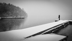 Silence & Solitude.. (Imagine8 Photography) Tags: scotland scottish imagine8photography highlands kincraig snow pier loch bw monochrome jetty lochinsh