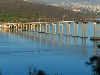 Summer morning rowing under the Tasman Bridge
