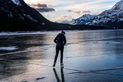 Living a Dream (Bruce Patterson2011) Tags: abraham lake winter ice snow mountains skater skating