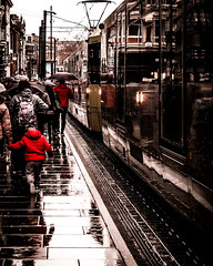 Rainy day on Market Street (aris.sfakianos) Tags: pedestrian street city urban tram firstavenue publictransportation rushhour undergroundwalkway zebracrossing cablecar tramway statin manchester rain reflections uk europe monochorme