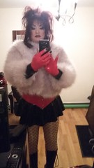 As promised  Just before TG (Sissy kaylah) Tags: tgirl tgurl fur furjacket bighair trans transvestite tranny crossdressing crossdress crossdresser rubbermini rubber heavymakeup kneeboots patentleather drag gloves fishnets nudetights tights pantyhose wolford neon40