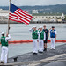 Crew of USS Texas render honors to the national ensign following Western Pacific deployment