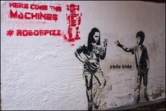 Rude Kids and Robospizz - DSCF0010a (normko) Tags: london southwark bermondsey graffiti stencil aerosol spray paint street art mural rude kids herecomethemachines robospizz dotmaster rudekids