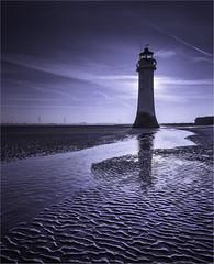 The lunatic is on the beach. (markrd5) Tags: wirral newbrighton blackrocklighthouse lighthouse sunrise mood atmosphere pinkfloyd moon lunacy werewolves tides gravity waterrocksands
