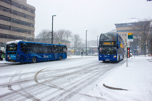 Enviro 200 MMC in Bluestar's route 18 livery operating in Southampton during a snow storm