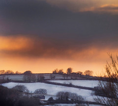 Winter Lingers (suerowlands2013) Tags: trehan saltash hamlet winter snow sunset clouds endoftheday farm wintertrees aroomwithaview