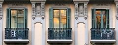 Three balconies, Barcelona (Spencer Means) Tags: balkon balcón balcony window reflection dreta eixample barcelona catalunya catalonia spain iron ironwork stonework