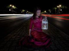 Time traveler (xfoTOkex) Tags: portrait girl woman women fantasy long exposure car lights dress outddor street red white night nightshot flash nokon d800 latern art fashion