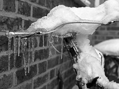 Icicle bicycle (pstani) Tags: 120rollfilm bronicaetrs bicycle film filmcamera monochromenegative road roadvehicle snow transport weather