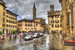 Florence (Jan Kranendonk) Tags: florence firenze italy italia italian europe plaza towers rain hdr people tourists city buildings history architecture