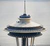Seattle Space Needle Aerial Close-Up (Performance Impressions LLC) Tags: spaceneedle aerial closeup top details observationtower observationdeck landmark icon skycityrestaurant people tourists 400broadstreet seattle washington travel unitedstates usa 16005660082 vau1295532