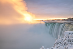 Niagara Falls Sunrise (angie_1964) Tags: niagara falls ontario canada winter cold ice snow water waterfall sunrise mist sky glow light nature landscape nikond850 nikon1635mmf40