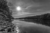 Morning Sun Over  The Mongaup (John Kocijanski) Tags: blackandwhite sun sunflare landscape reflections reservoir water ice winter sullivancounty canon1740mmllens canon5dmkii