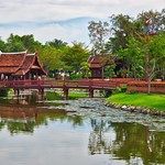 Wooden bridge in Muang Boran open air museum in Samut Phrakan, Thailand thumbnail