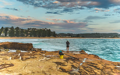 The Early Morning Fisherman (Merrillie) Tags: daybreak australia sunrise outdoors fishing nature water waves rocky centralcoast morning sea newsouthwales rocks earlymorning nsw seagulls avocabeach ocean landscape waterscape cloudy coastal clouds sky seascape gulls coast dawn fisherman