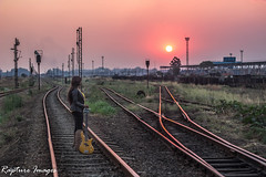 Anne (Rapture Imagez) Tags: sunset railway africa guitar bass music gorgeous girl model fire horizon magificent awesome amazing sun boots summer