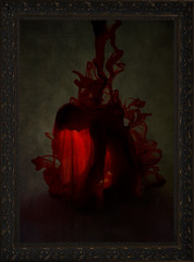 The Mourning Portrait pt. i (Wendy Lu.) Tags: wendylu canon5d dark art surreal conceptual ghost creepy eerie emotional emotive macabre ink blood morbid photo frame picture oil painting manipulation back slouched cloak red black old antique faceless