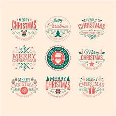 free vector Merry Christmas  Typographic Labels and Badges set (cgvector) Tags: art background badge banner border business calligraphy card celebration christmas cover decoration deer design element flourish frame gift greeting happy holiday icon illustration invitation label logo merry object postcard present red retro ribbon season set snowflake text tree typography vector vintage winter wish xmas