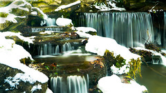 Small waterfalls in the park of Woluwé - Brussels (jamessensor) Tags: waterfall cascade chute water neige snow
