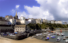 Tenby (chapdav) Tags: harbour boats sailing bluesky sand houses people cars sails spire clouds tenby