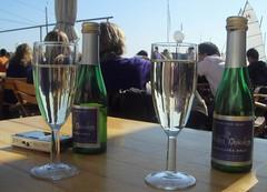 2008-09-20 04 Hamburg Alstercafe, sparkling wine for two (kaianderkiste) Tags: anja annigrannini hamburg alstercafe bodosbootssteg sekt sparklingwine anni grannini aadk61 granini