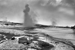 Strokkur Geyser, Iceland (ambeizzi) Tags: strokkur stokkur geyser iceland monochrome black white steam volcano geothermal rock