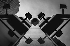 High Contrast (s.W.s.) Tags: symmetry urban city building architecture architectural black montreal up sky abstract lamps quebec canada nikon d3300 lightroom