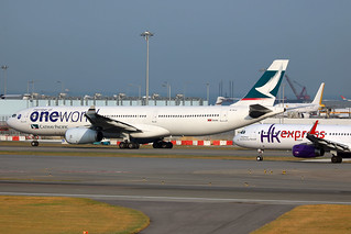 Cathay Pacific Airways A330-300 B-HLU in Oneworld c/s taxiing for takeoff at HKG/VHHH